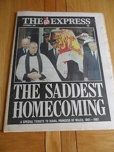 EXPRESS NEWSPAPER SEPT 1ST 1997  LADY DIANA039S DEATH - <span itemprop='availableAtOrFrom'>Kidderminster, United Kingdom</span> - EXPRESS NEWSPAPER SEPT 1ST 1997  LADY DIANA039S DEATH - Kidderminster, United Kingdom