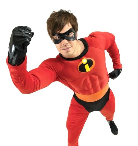 Adult Disney MR INCREDIBLE DELUXE Muscle Chest Superhero Fancy Dress Incredibles