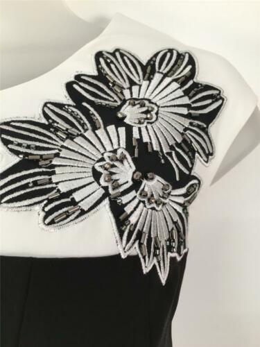 Race Millen Karen Cocktail Black Dress Occasion Size Flower White Day Embroidery R0wdqT0