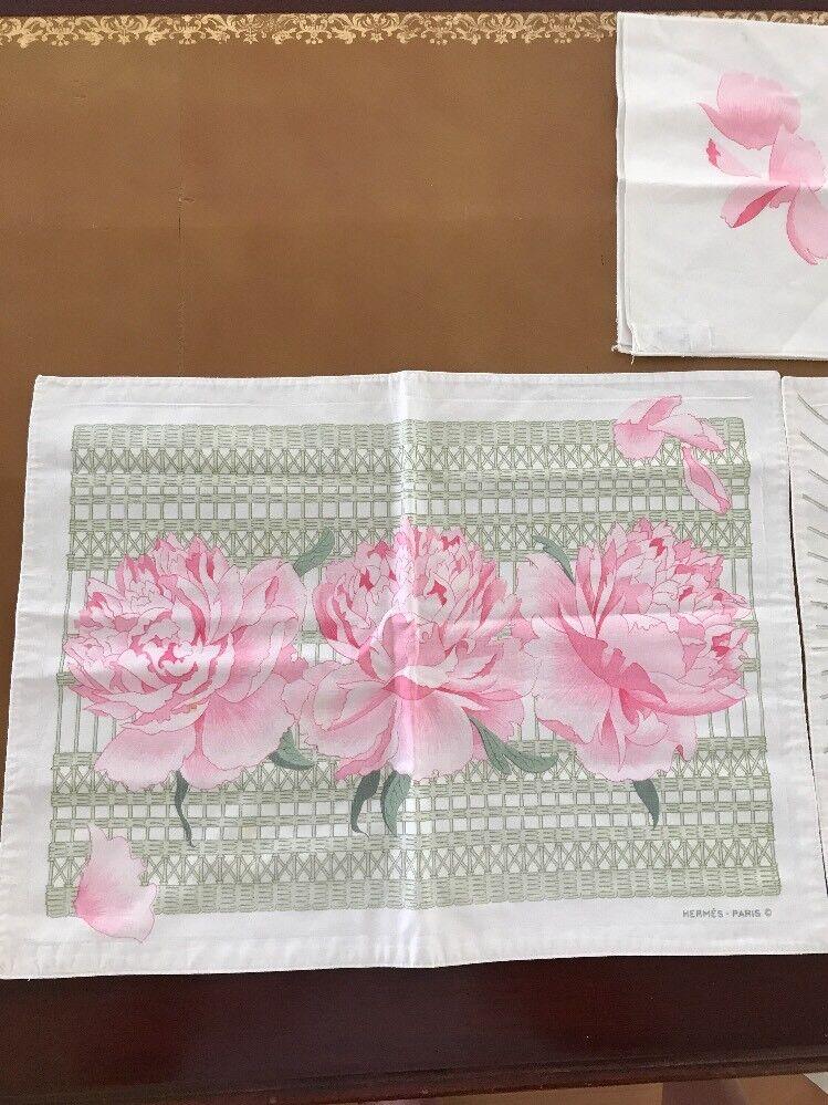 rose Floral Vintage Authentic Hermes Napkin Place Mat Set made in France