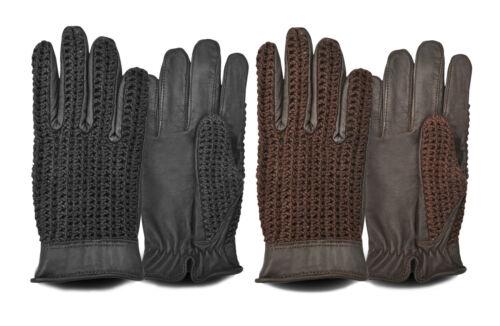 autista di guida guanti di tipo Men/'s Leather indietro all/'uncinetto stile retrò vintage