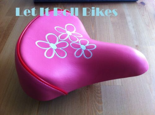 """NEW KIDS BICYCLE SADDLE SEAT PINK W//FLOWERS FOR 16/"""" OR 20/"""" BIKES!"""