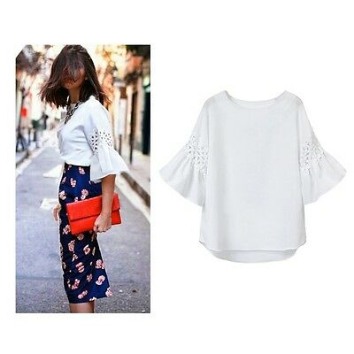 Simple Ladies Summer Blouse Women's Korean Fashion Ruffle Sleeve Shirt Tops Tee