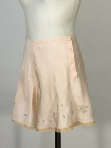 Vintage 1920's-1930's peach rayon HAND EMBROIDERED