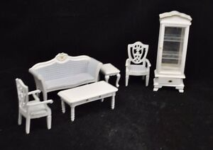 cool 12 scale dollhouse living room set | Living Room Set Victorian white dollhouse parlor T0131 1 ...