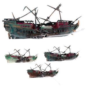 Aquarium-Ornament-Wreck-Boat-Sunk-Ship-Air-Split-Shipwreck-Fish-Tank-Cave-Decor