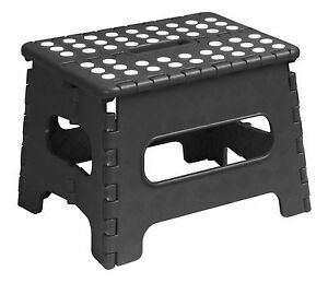 Superio Folding Step Stool With Anti Slip Surface 9 Quot Black