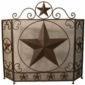 new metal lone star fireplace screen western country rustic style rh ebay com rustic star fireplace screen metal star fireplace screen