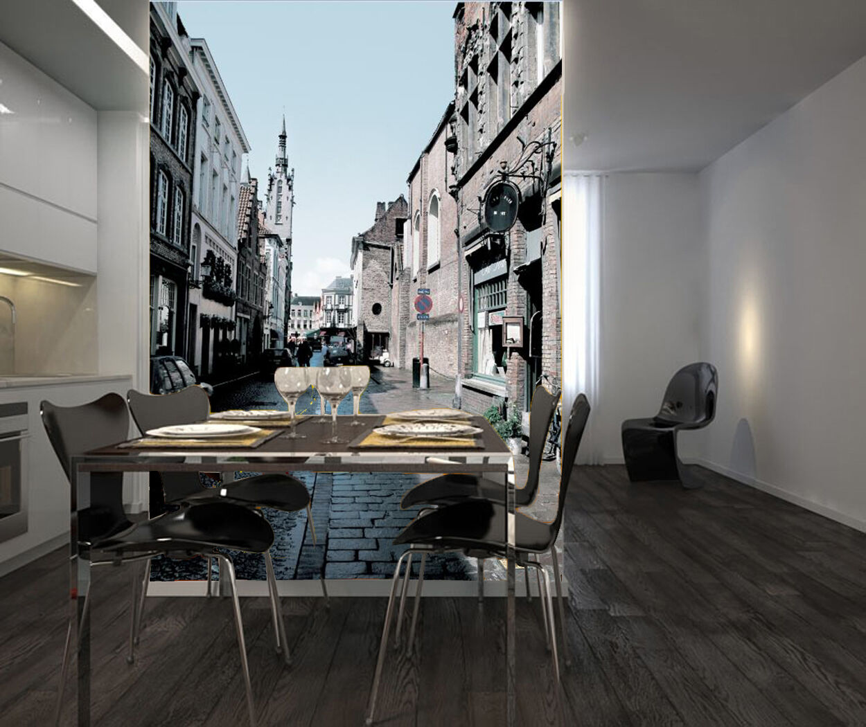 3D Clear Street Through Town 2 Wall Paper Wall Print Decal Wall Deco Indoor Wall