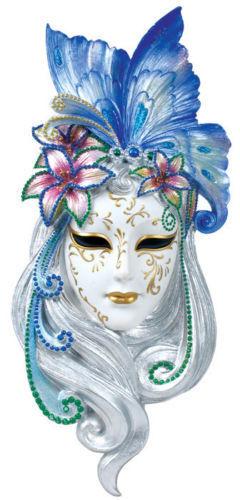 Art Deco Lady Butterfly Venetian Mask Sculpture Wall Decor