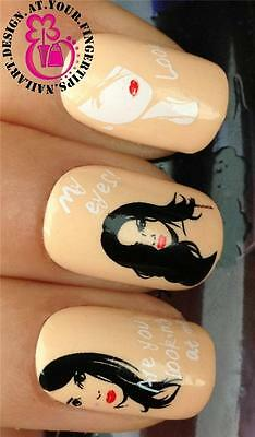 NAIL ART WATER TRANSFERS STICKERS DECALS DECORATION BLACK WHITE LADY FACES #198