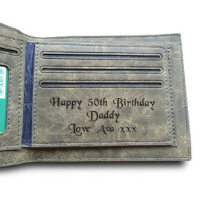 Image Is Loading Mens Personalised Engraved Real Leather Luxury Wallet Birthday