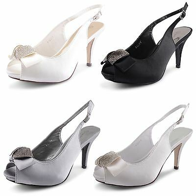 Womens Ladies Satin Diamante Mid Heel Slingback Sandals Bridal Shoes Size UK