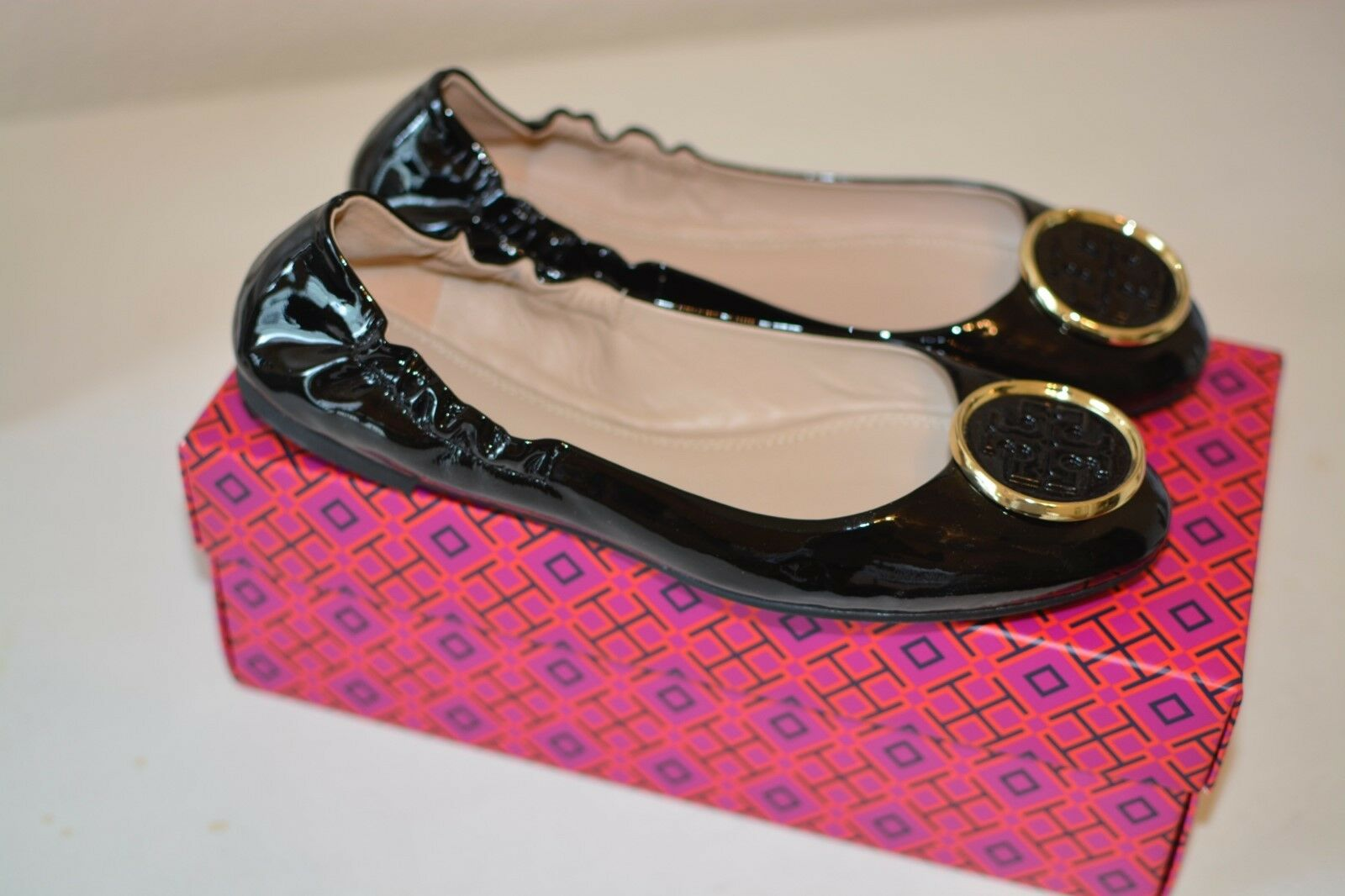 Tory Burch  Twiggie  Black Patent Flats (Size 9) New with Box