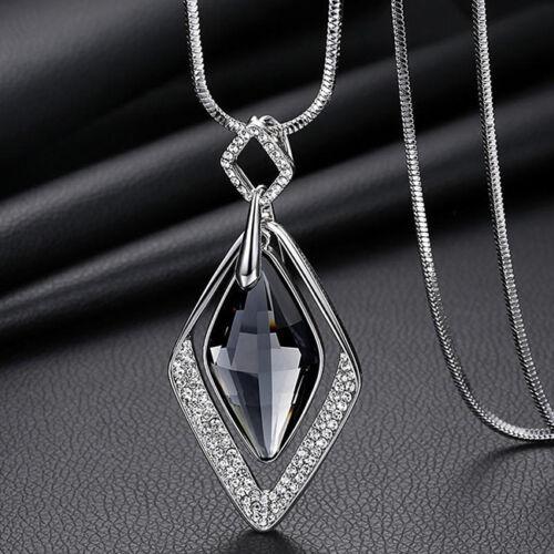 Femmes exquis Rhombus Pendentif Colliers Collier Longue Chaîne Pull G
