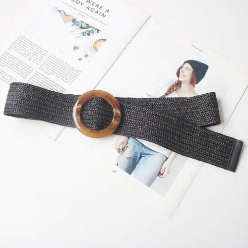 Runde Holzschnalle elastischer Strohgürtel Frauen geflochtene breite gewebt CBL