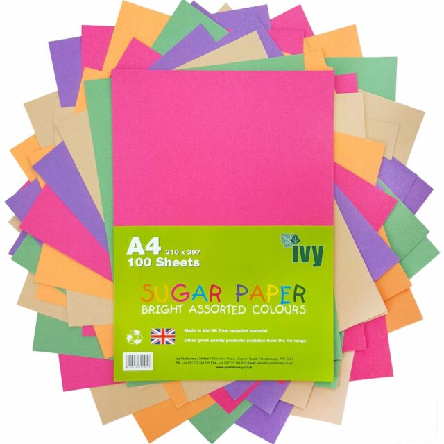 A4 Bright Colour Assorted Coloured Paper 100 Sheets Art and Crafts Quality