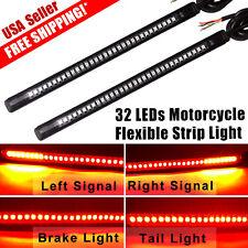 "2 x Motorcycle Integrated 8"" 32 LED Brake Tail Turn Signal Light Strips 12V US"