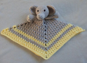 Hand Made Crocheted Elephant Animal Lovey Baby Blanket Doll *NEW* You Choose
