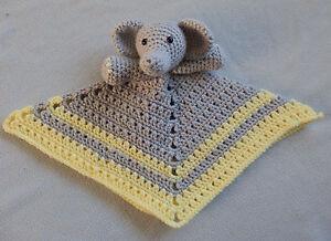 Hand Made Crocheted Elephant Animal Lovey Baby Blanket Doll New