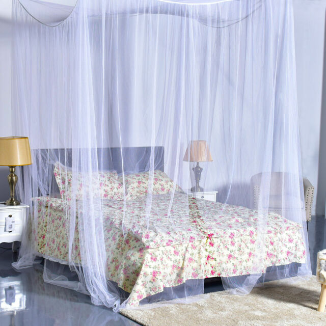 4 Corner Post Bed Canopy Mosquito Net Netting Bedding White Full Queen King Size : full bed canopy - afamca.org