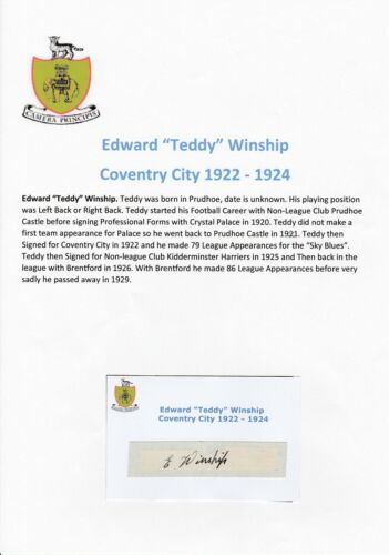 TEDDY WINSHIP COVENTRY CITY 19221924 EXTREMELY RARE ORIG SIGNED CUTTINGCARD