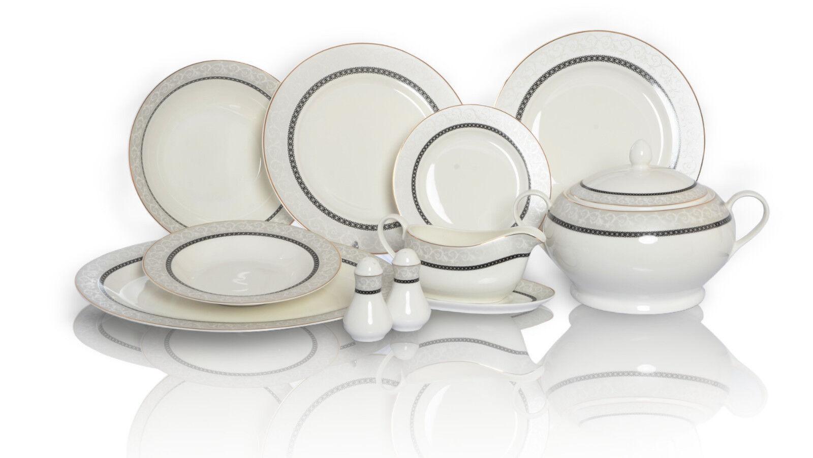 42 pcs de porcelaine Set tablerware Vaisselle Assiette Service cadeau floral fine