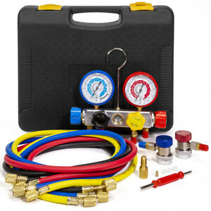 Details about 4 Way AC Manifold Gauge Set R134a R410A R404A R22 w/Hoses  Coupler Adapters Case