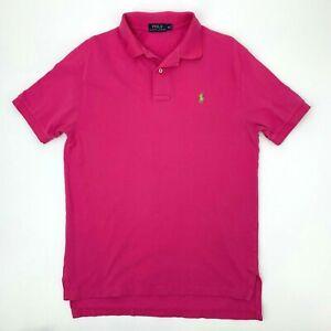 Ralph-Lauren-Polo-Shirt-Men-039-s-Size-M-Hot-Pink-Casual-Collared-Cotton-Golf-Tee