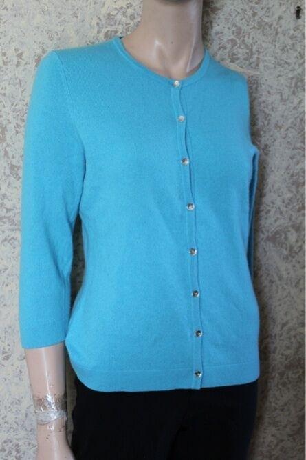 Ann Taylor 100% Cashmere Blau cardigan sweater Klein S (Sparkle Tastes)