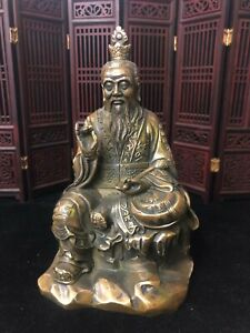 Collect Chinese Taoism old Bronze Copper Seat Lord Lao Zi Statue taishang laojun