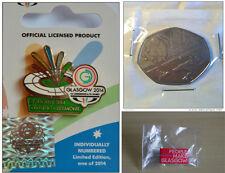Juegos de Commonwealth Glasgow 2014 ceremonia de clausura Pin Insignia, moneda de 50p y más