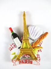 Paris Magnet Reise Souvenir France,Eiffelturm,Baguette,Wein,Kochmütze