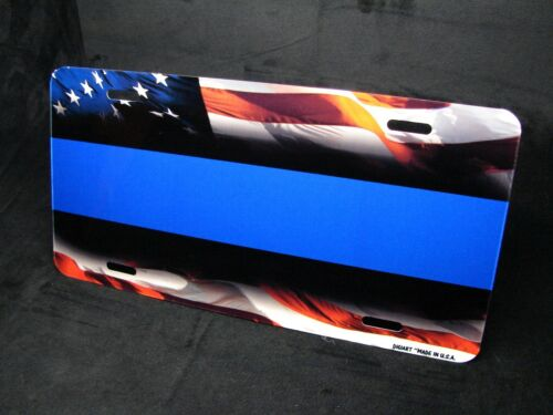 THIN BLUE LINE POLICE METAL NOVELTY CAR LICENSE PLATE AMERICAN WAVING FLAG