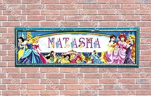 personalized customized disney princess 1 name banner wall poster