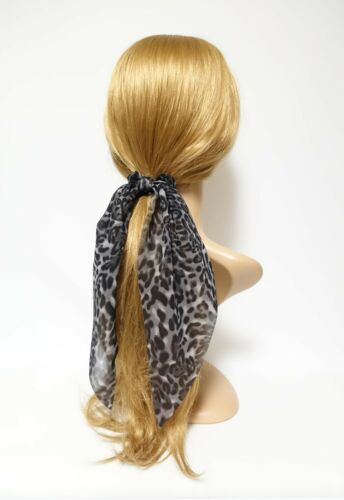 leopard print chiffon long tail bow knot scrunchies