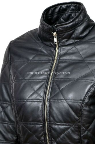 Ladies Black Slim Fit Quilted Casual Soft Lambskin Napa Leather Jacket 3328