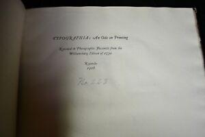 1926 TYPOGRAPHIA - AN ODE ON PRINTING Facsimile of 1730 VA Printing Poem