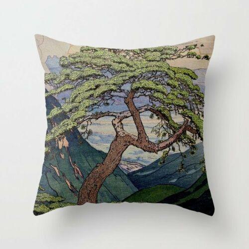 """18x18/"""" retro Japon Housse de coussin toile de jute Taie d/'oreiller Mont Fuji pillowslip Covers"""