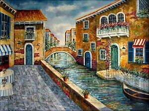 Quality-Hand-Painted-Oil-Painting-Venice-Waterway-with-Storefront-36x48in