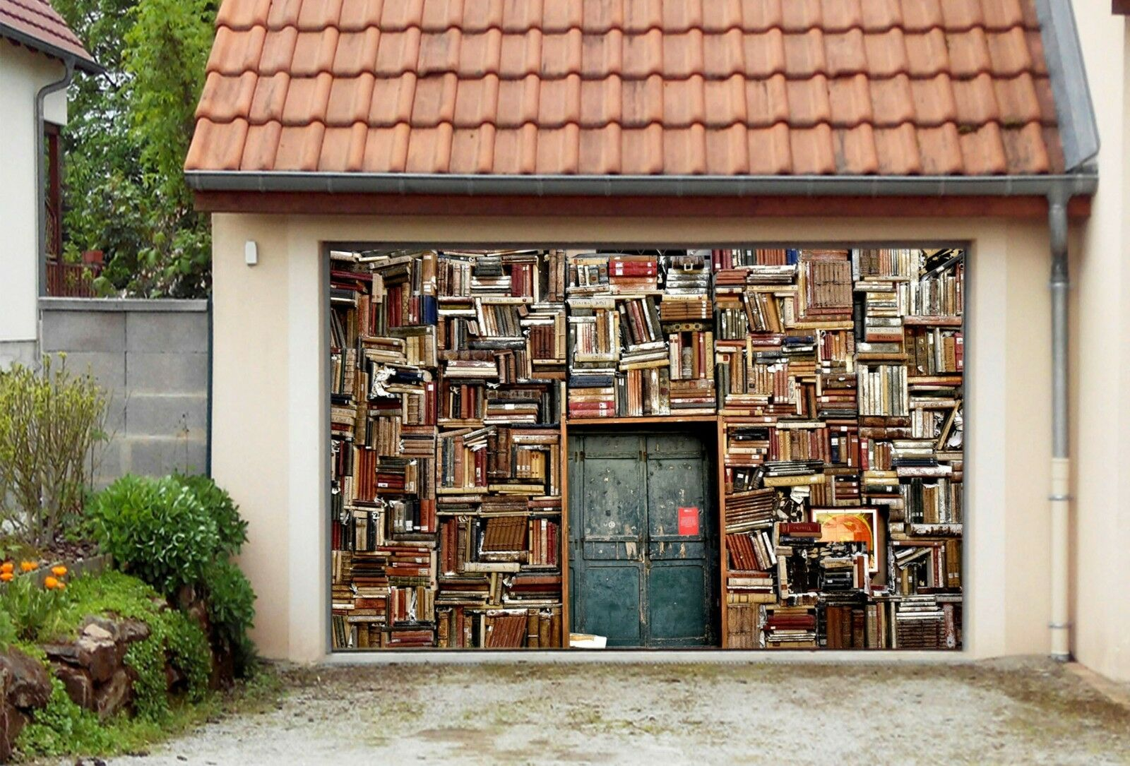 3D Bookstore 783 Garage Door Murals Wall Print Decal Wall AJ WALLPAPER UK Carly