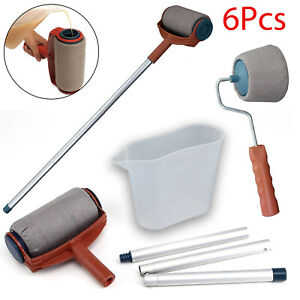 Paint-Runner-Pro-Roller-Brush-Set-Wall-Painting-Edger-Handle-DIY-Tool-Kit-6PCS
