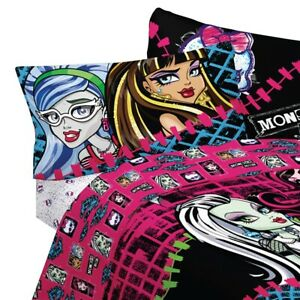 Details About Monster High Bed Sheet Set Frankie Stein Draculaura Ghouls Allowed Bedding