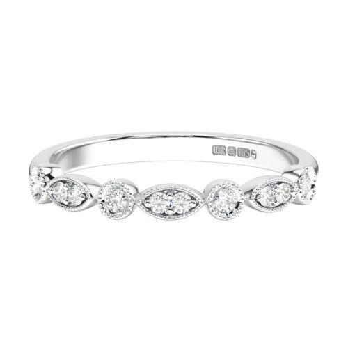 2.5 mm Conjunto Pave Diamantes Corte Brillante Redondo Medio Anillo de la eternidad en oro 9K
