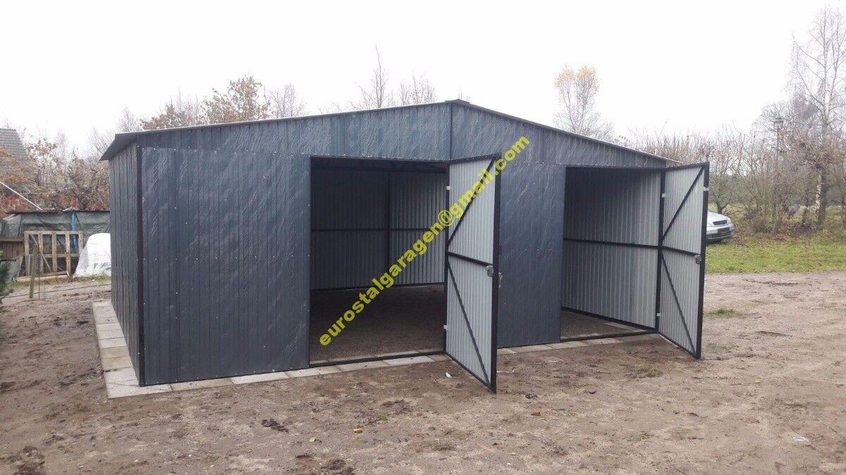 Blechgarage 5,5x7 Blechhalle RAL7016 Schuppe Lager Fertiggarage 4Kantprofil NEU