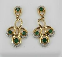Emerald And Diamond Earrings 14k Yellow Gold Green Dangle Drop Wedding Earrings