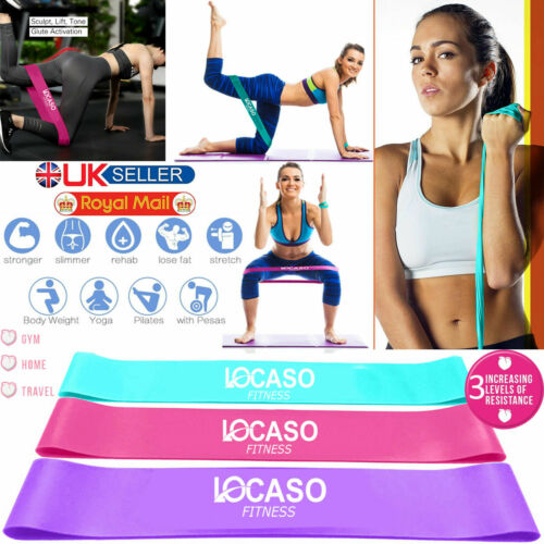 Résistance Exercice Boucle Bandes Cheville Jambe Home Gym Fitness Yoga Pilates GLUTE UK