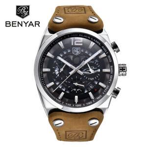 BENYAR-Chronograph-Waterproof-Leather-Band-Men-Military-Sport-Quartz-Wrist-Watch