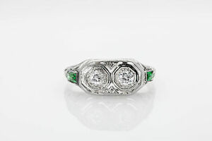 Antique-1920s-1ct-Old-Euro-Diamond-Emerald-18k-White-Gold-Filigree-Ring