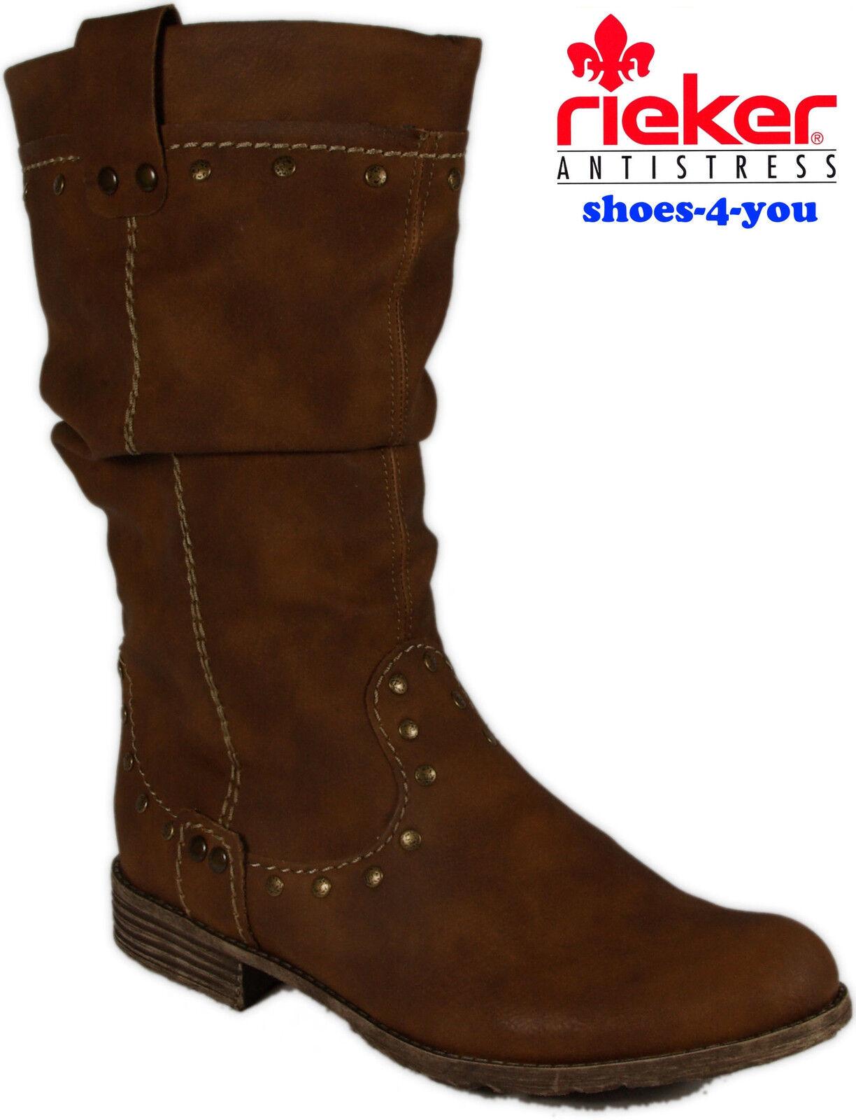 Rieker zapatos botas Lang caña marrón cremallera alimento caliente nuevo de cordero